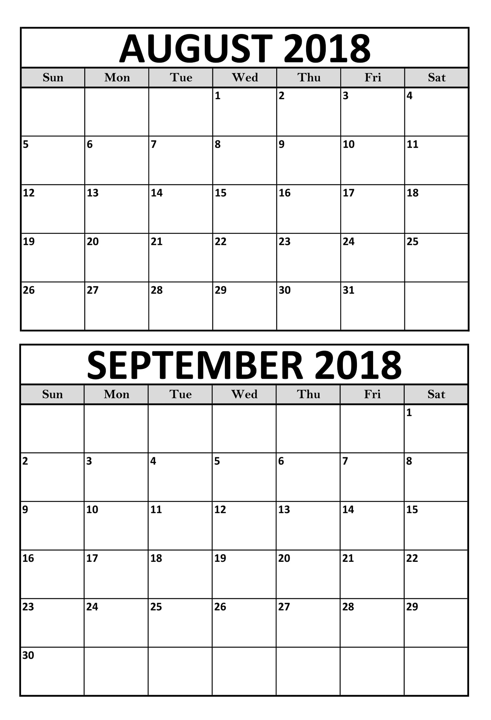 August September 2018 Calendar Printable Template | August 2018 pertaining to Blank August And September Calendar