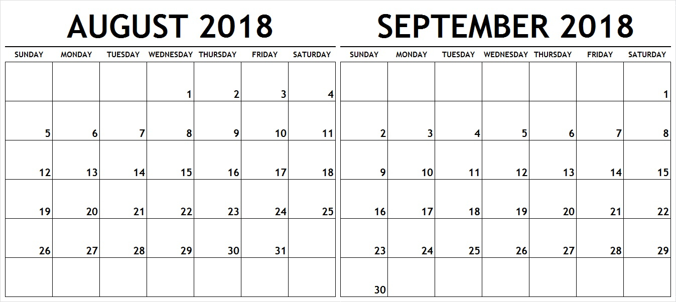 August September 2018 Calendar Template Pdf With Holidays with Blank August And September Calendar