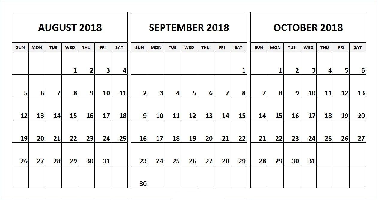 August September October 2018 Calendar Desk Template | August intended for 3 Month Calendar Printable Template