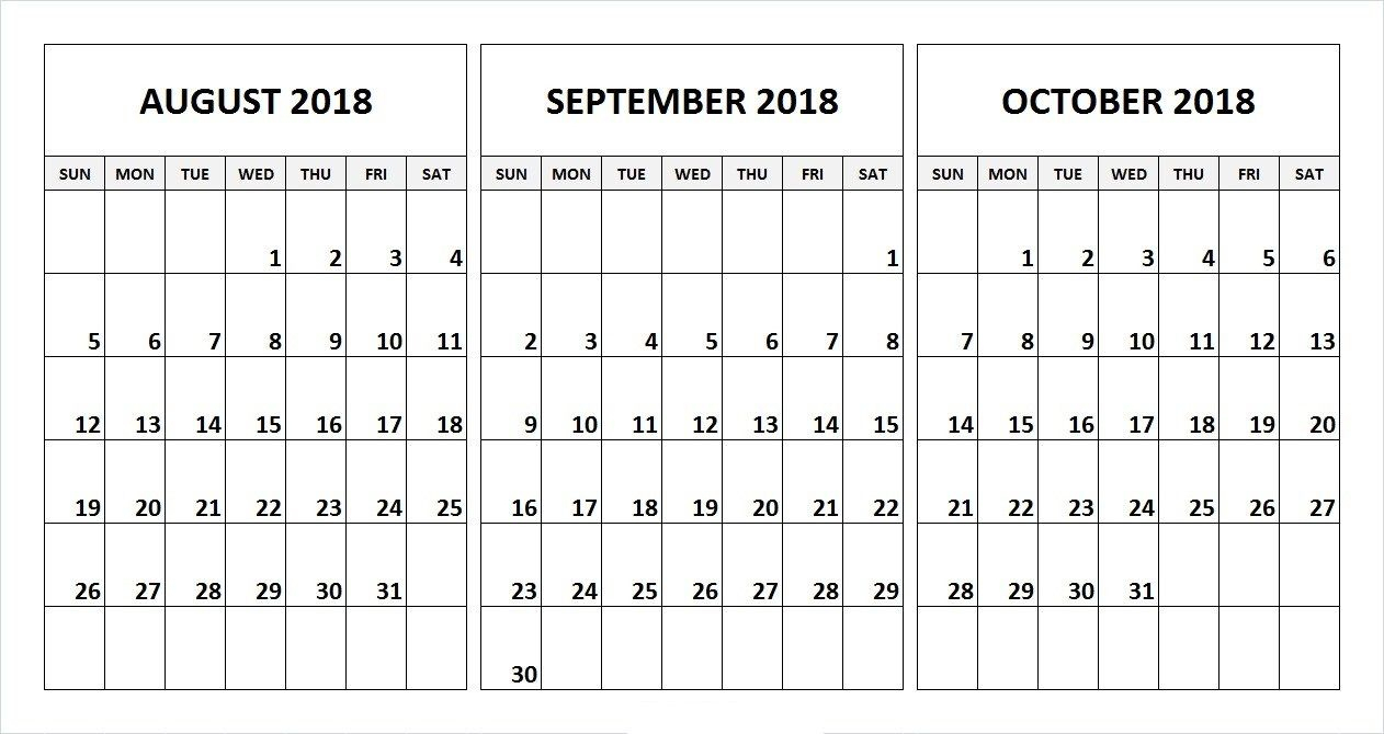 August September October 2018 Calendar Desk Template | August with 3 Month Printable Calendar Template
