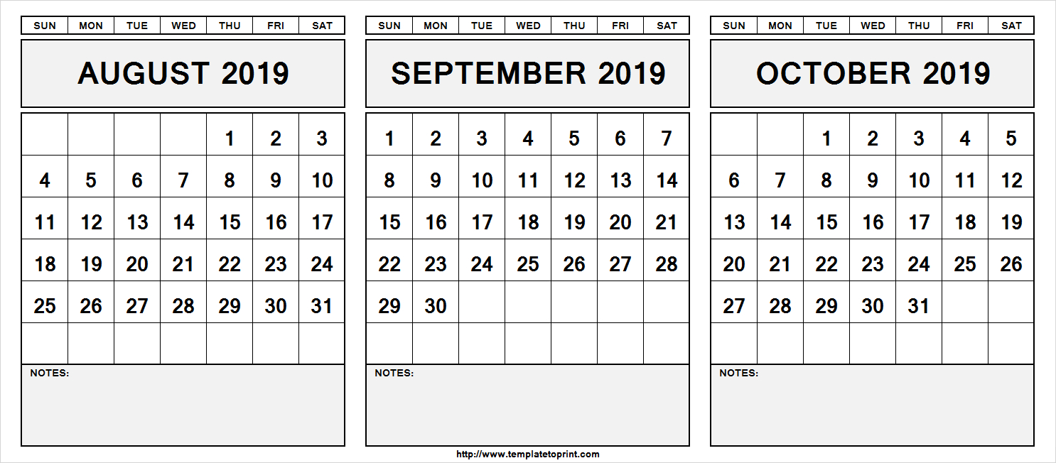 August September October 2019 Calendar 3 Months Printable Templates pertaining to Calendar Blanks August Through October 2019