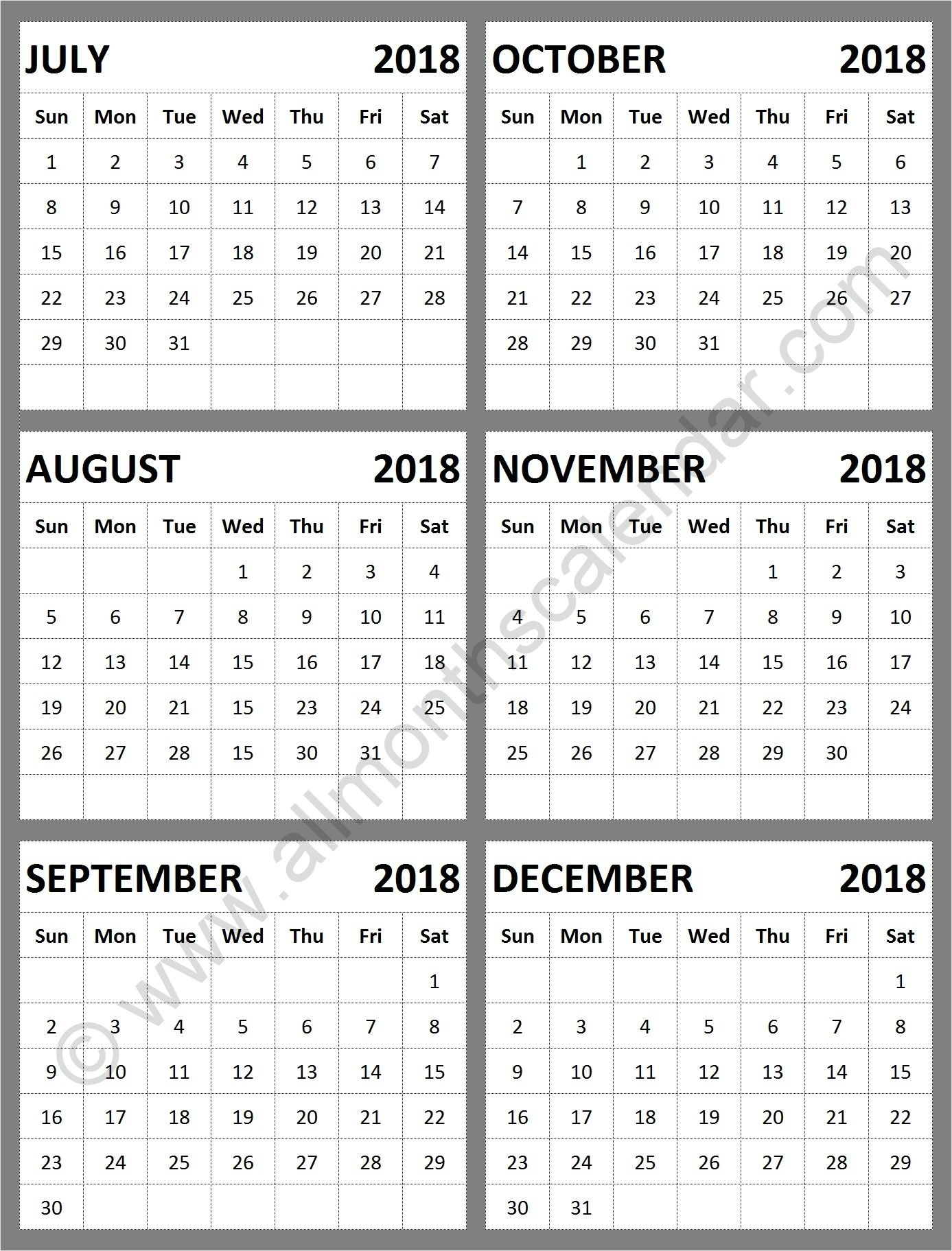 August To December 2018 Calendar | Calendar Format Example with August-December Calendar Template