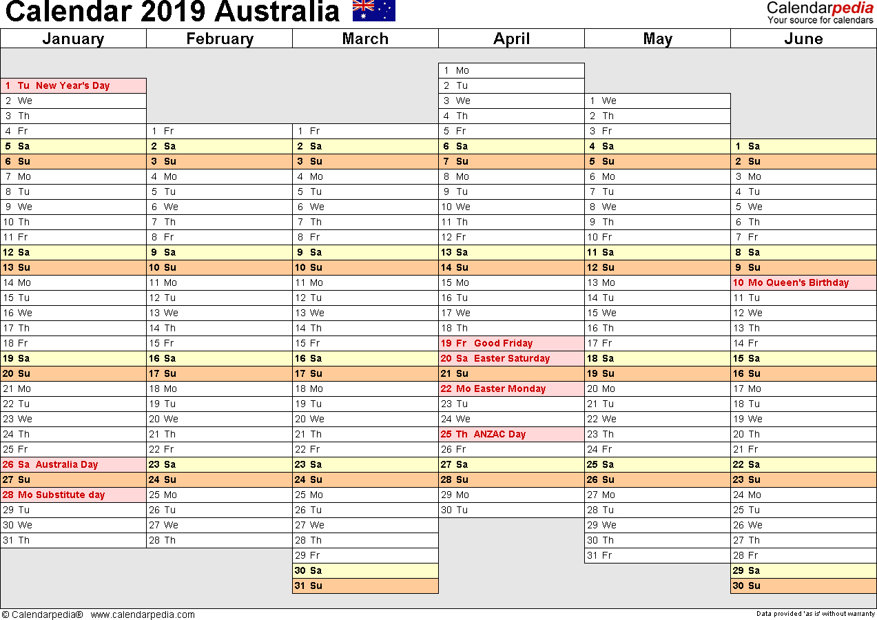 Australia Calendar 2019 - Free Printable Excel Templates within Year Planner Template Australia