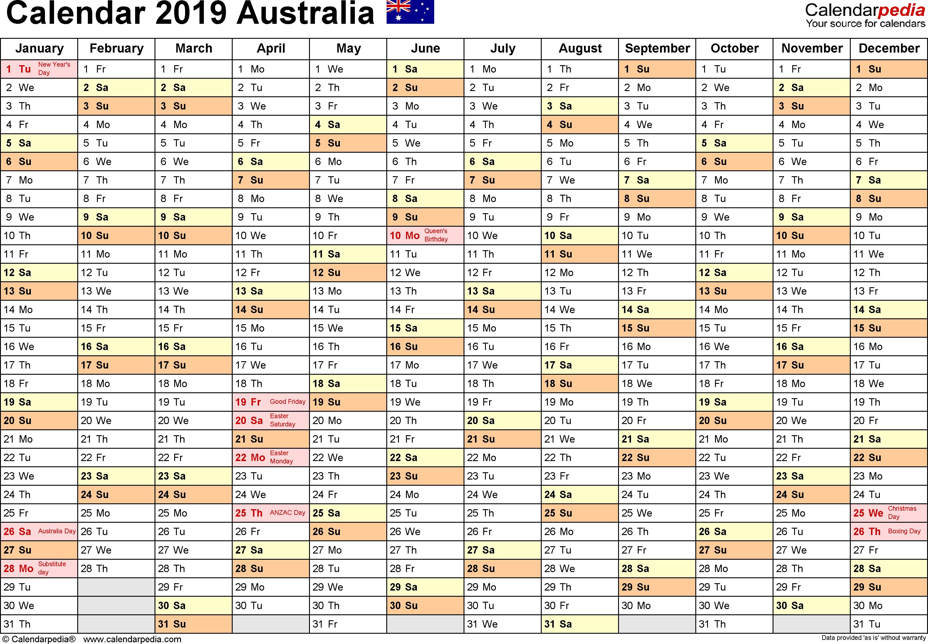 Australia Calendar 2019 - Free Printable Pdf Templates with A3 Calendar Template Printable