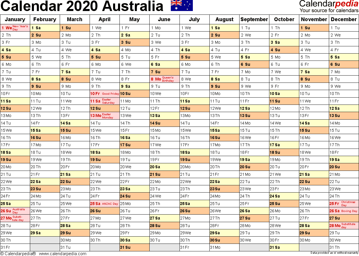 Australia Calendar 2020 - Free Printable Excel Templates in Year Planner Template Australia