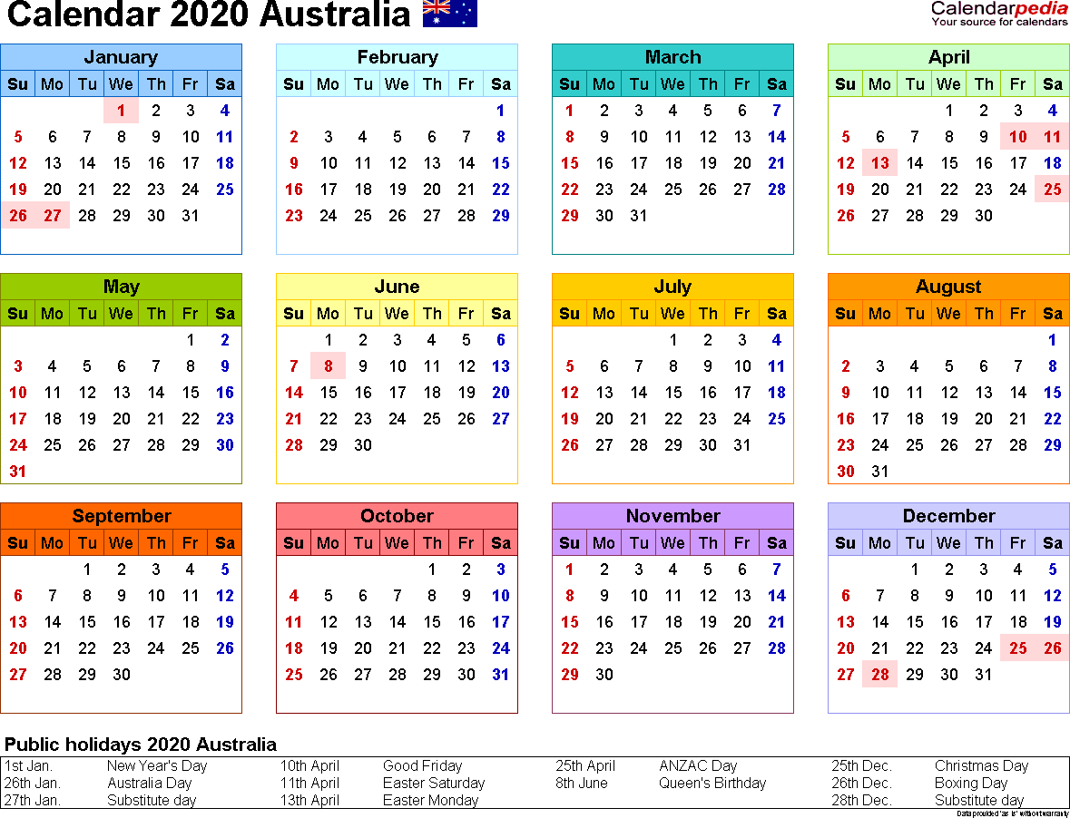 Australia Calendar 2020 - Free Printable Pdf Templates in Free Printable 2020 Monday To Friday Australian Calender