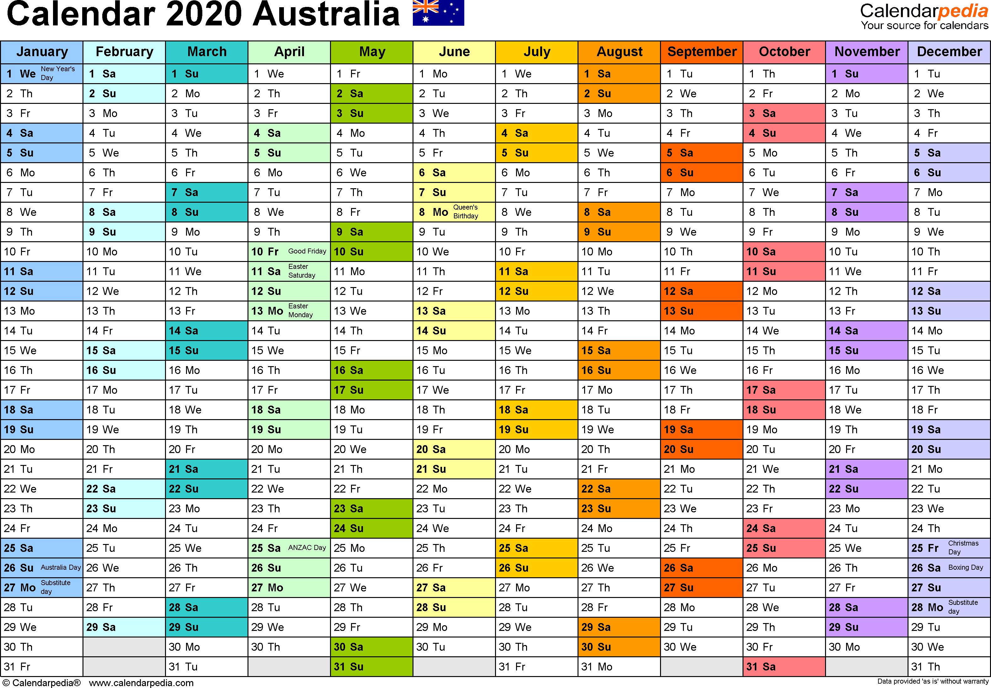 Australia Calendar 2020 - Free Printable Pdf Templates intended for Split Calendar 2019 2020 South Australia