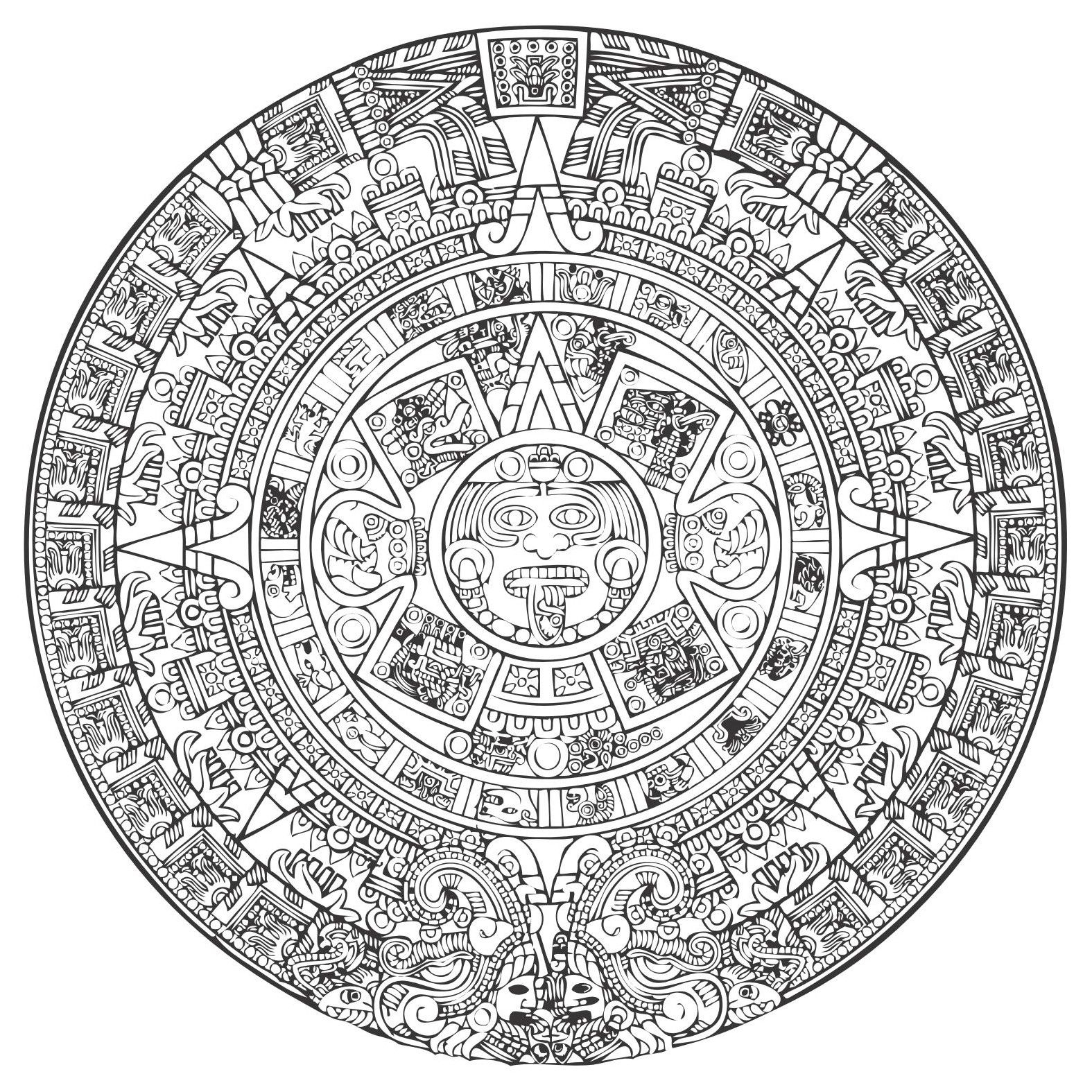 Aztec Calendar Vector [Eps File] - Accurate, Ancient, Antiquities intended for Aztec Calendar Printable Template