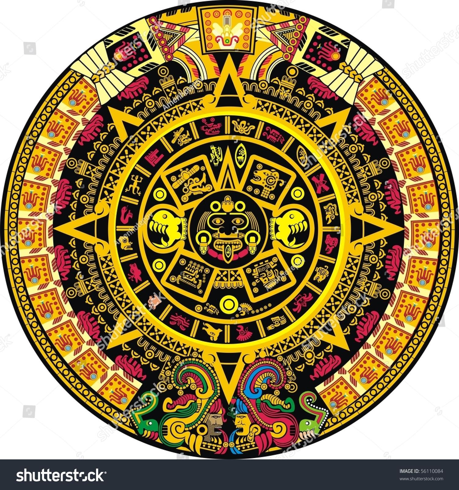 Aztec Calendar Zodiac Signs • Printable Blank Calendar Template inside Aztec Calendar Printable Template