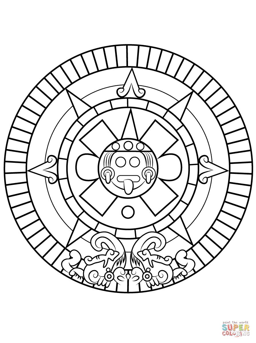Aztec Sun Stone   Super Coloring   World History   Aztec Calendar inside Aztec Calendar Printable Template