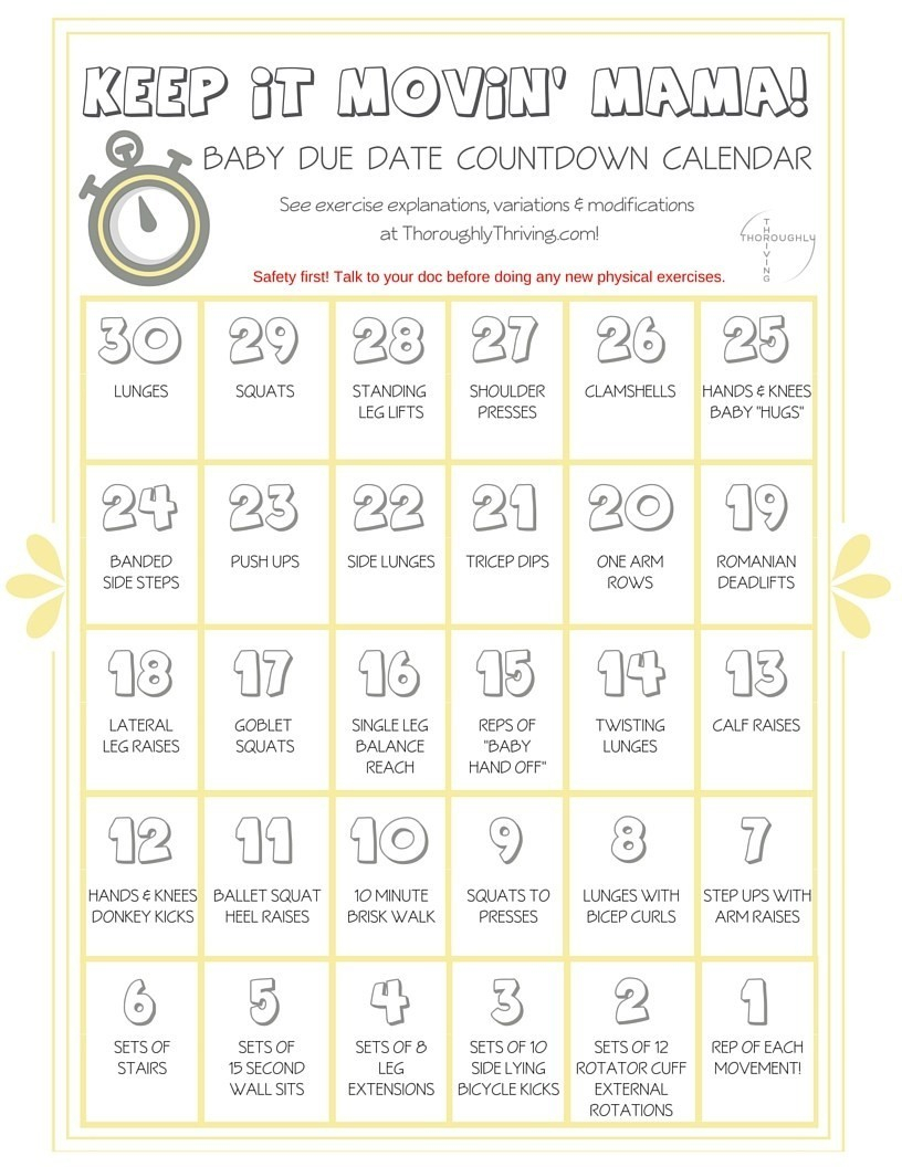 Baby Countdown Calendar Printable Keep It Movin Mama 30 Day pertaining to 30 Day Workout Calendar Template