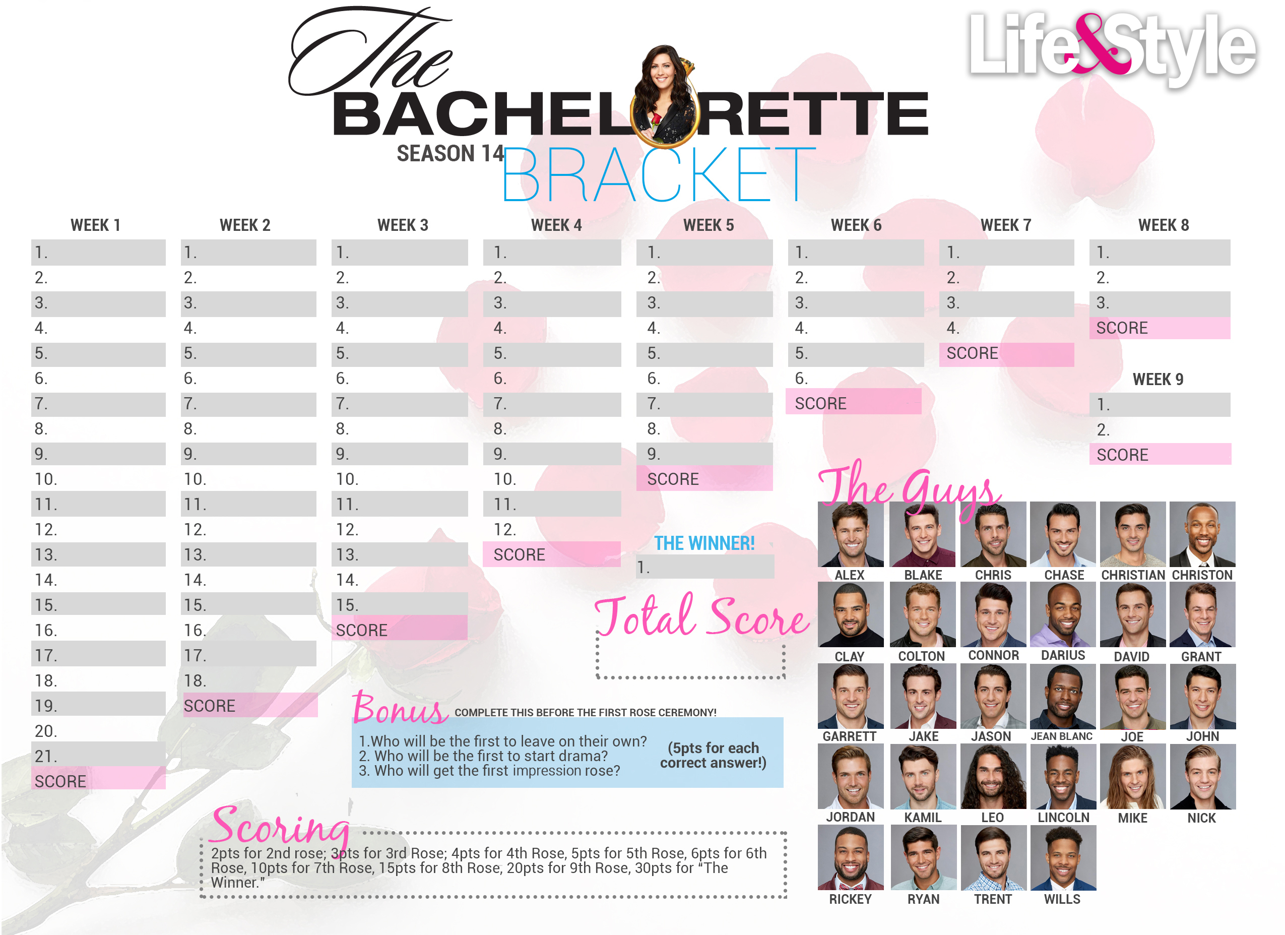 Bachelorette Bracket 2018 — Download, Print Before The Premiere intended for Bachelorett Fill In Blank Templets