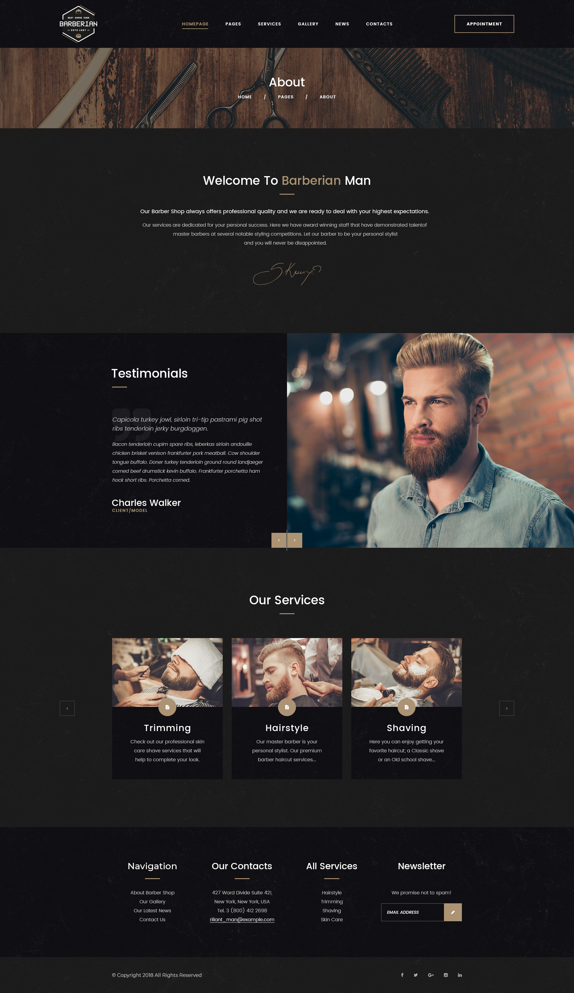 Barberian - Professional Barber Shop & Hair Salons Psd Template pertaining to Hair Appointment Schedule Template
