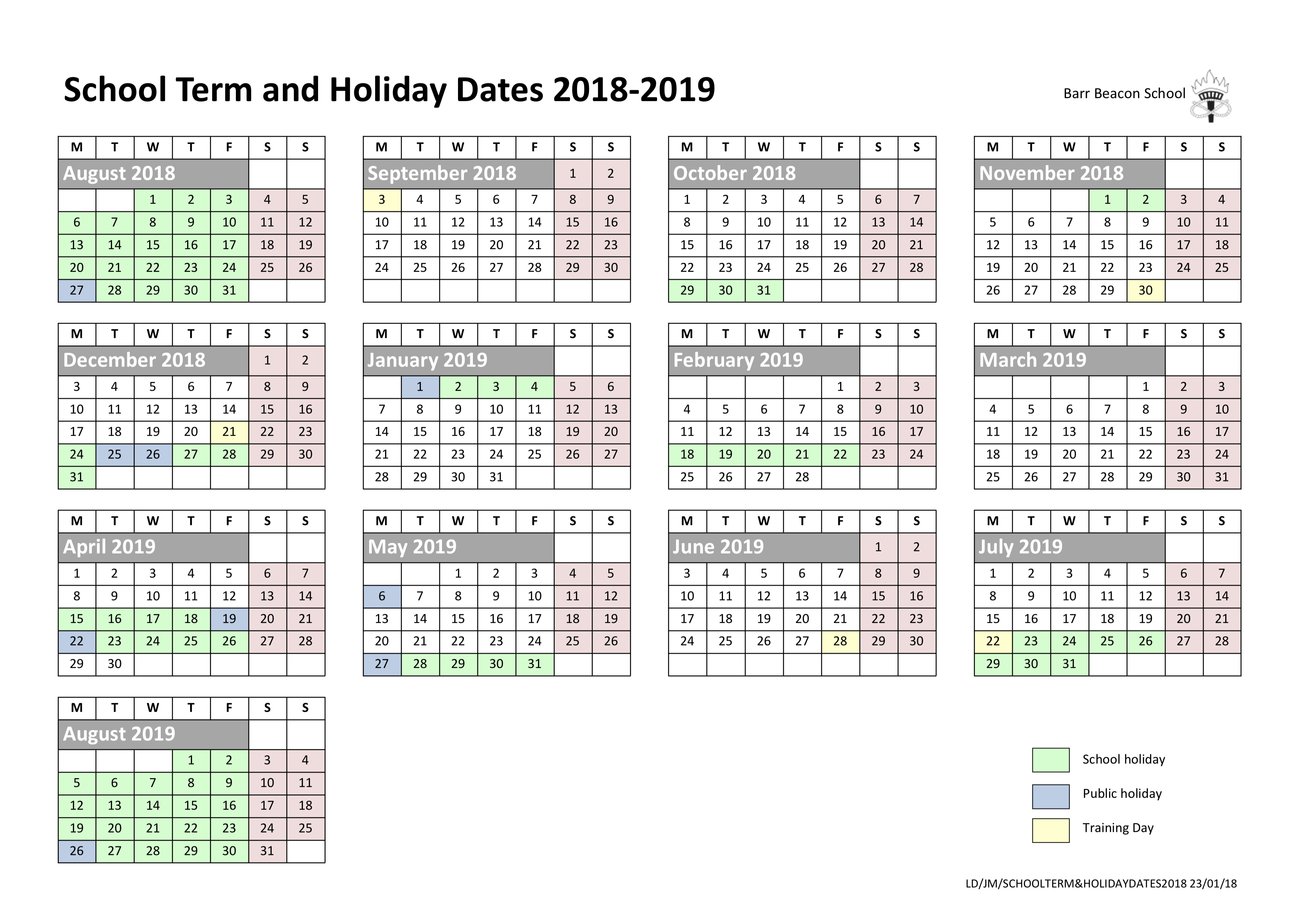 Barr Beacon School » Calendar regarding Year To View Calendar 2019/2020