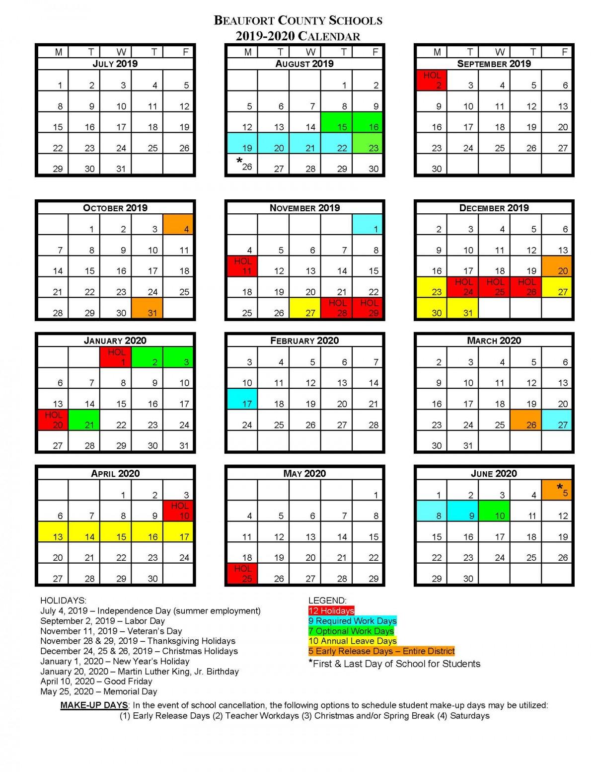 Bcs School Calendars | Beaufort County Schools in 2019- 2020 Academic Calendar Printable Empty Boxes