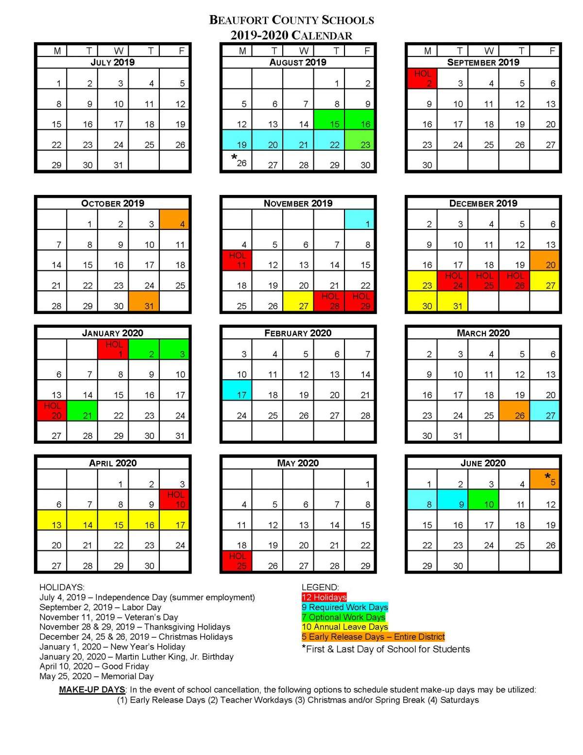 Bcs School Calendars | Beaufort County Schools with regard to Six Nations School Caldendar 2019-2020