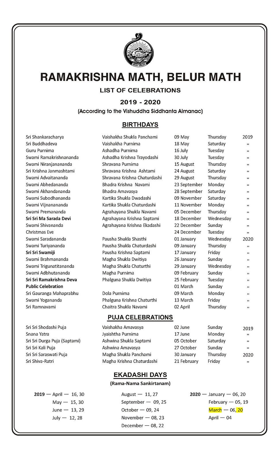Belur Math Festival Calendar (2019-20) - Belur Math - Ramakrishna for Calender Of October 2019 According To Tithi