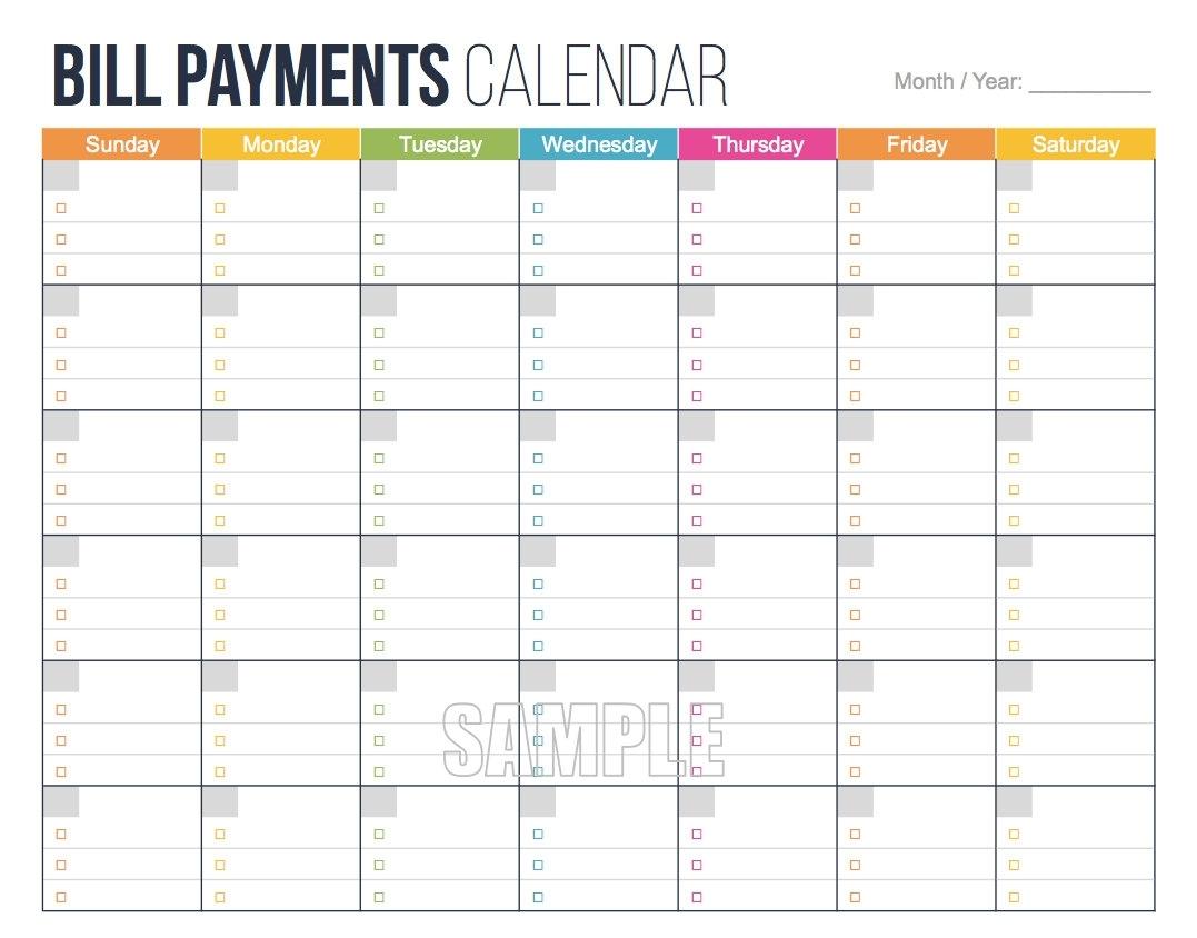 Bill Due Date Calendar Printable | Template Calendar Printable inside Bill Due Date Calendar Template