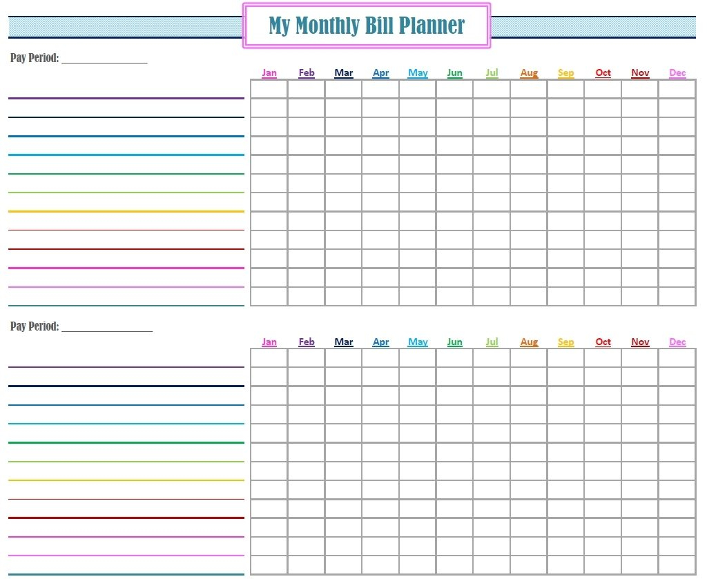 Bill Of Sale Free Printable Monthly Tracker Thor Ciceros Co Template in Free Printable Bill Payment Template