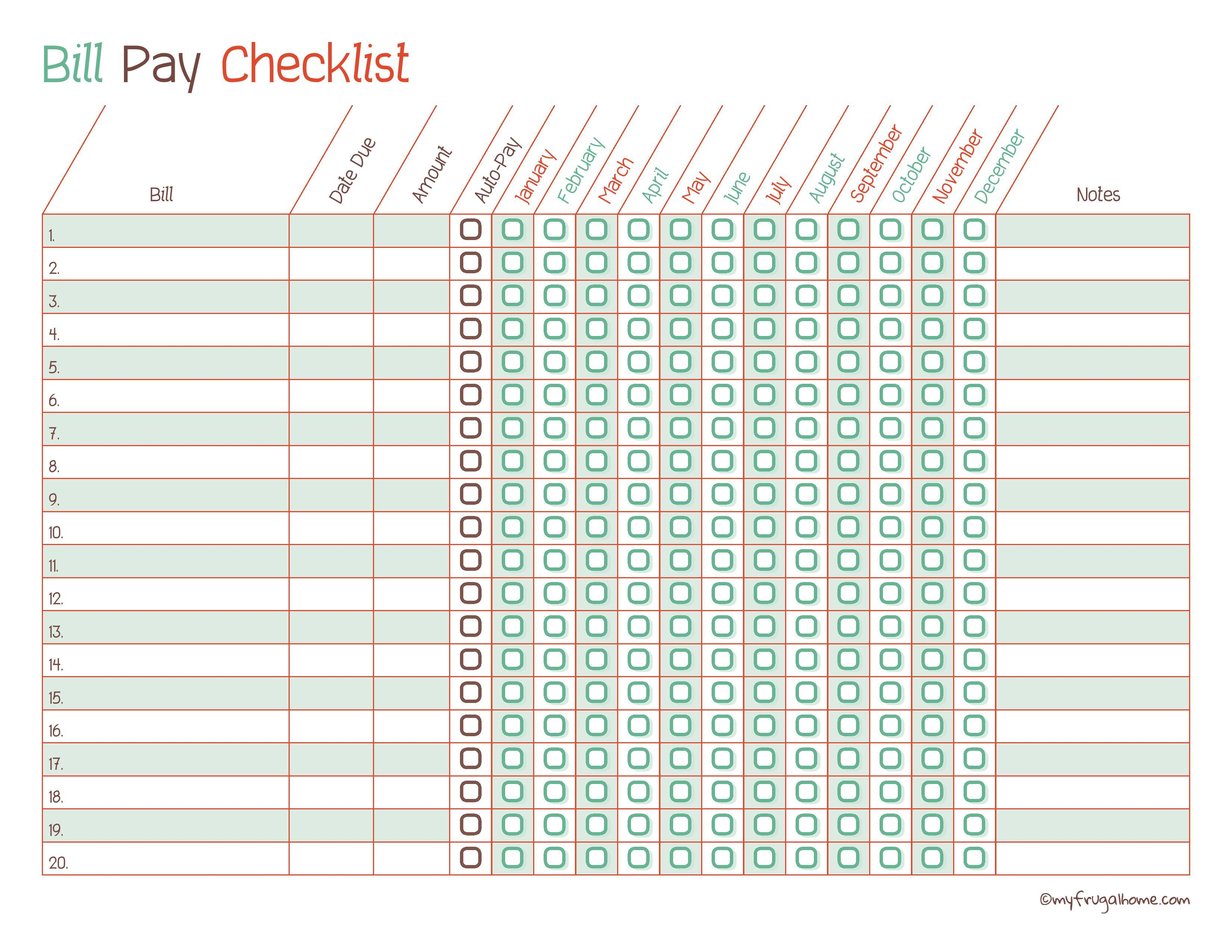 Bill Pay Checklist Template - Infer.ifreezer.co regarding Salary And Bill Payment Schedule Template Printable