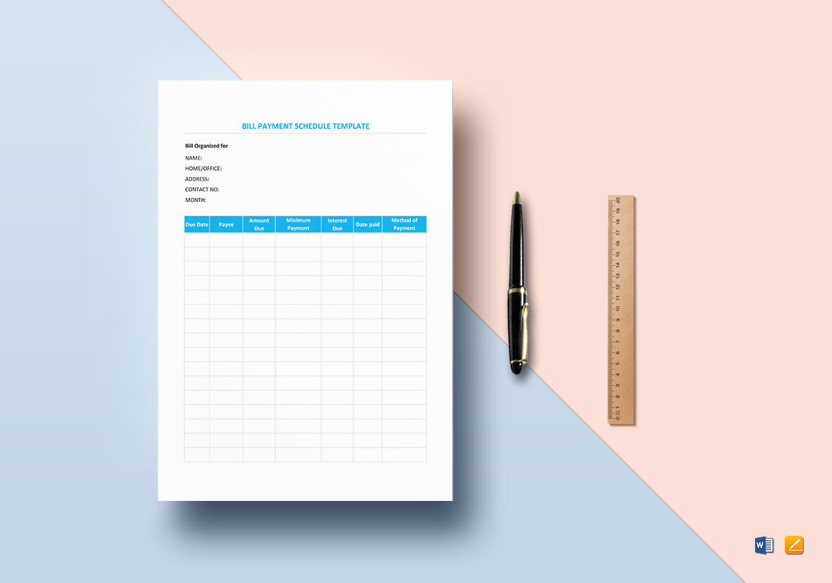 Bill Payment Schedule Template inside Numbers Template For Paying Bills