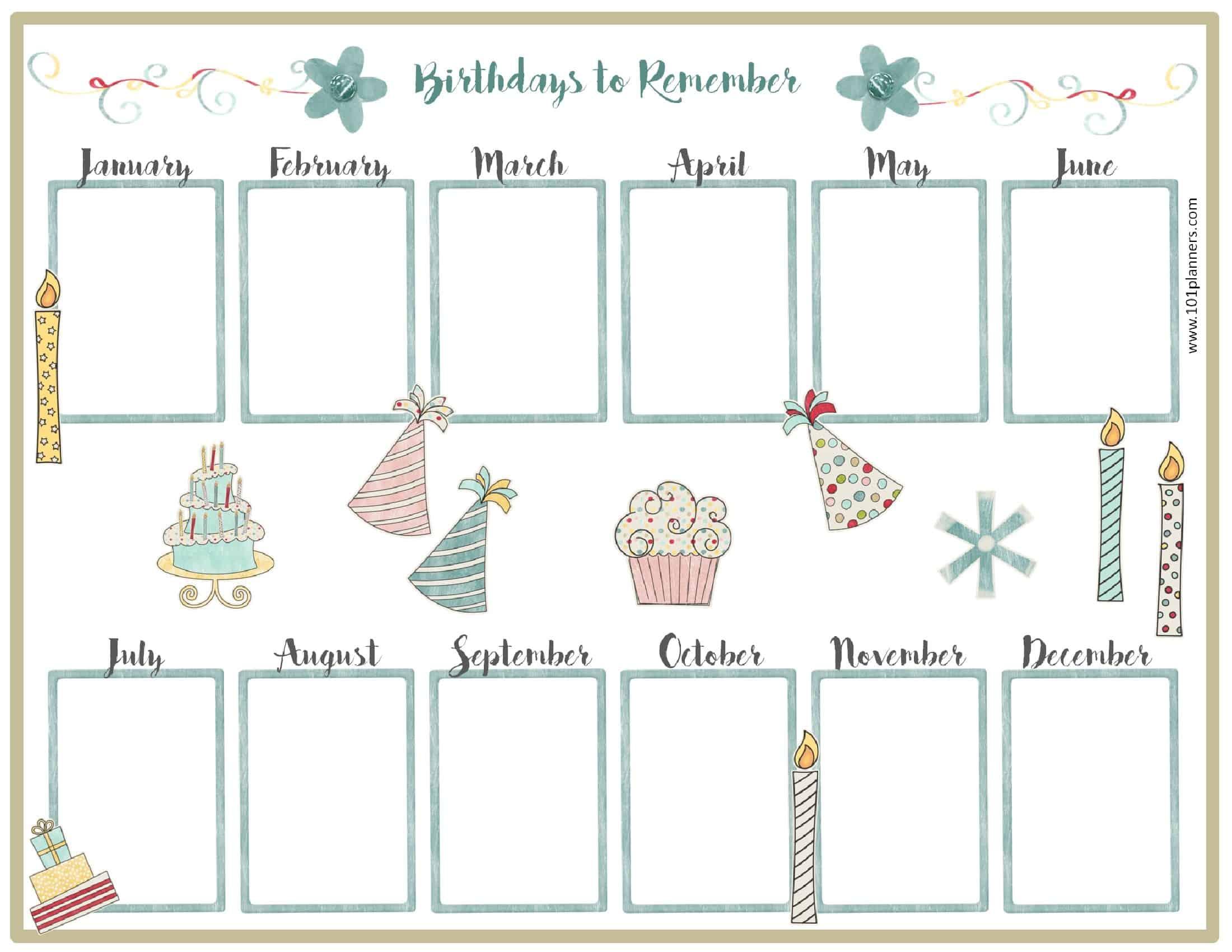 Birthday Calendar Template Free Microsoft Word regarding Blank Monthly Birthday Calendars