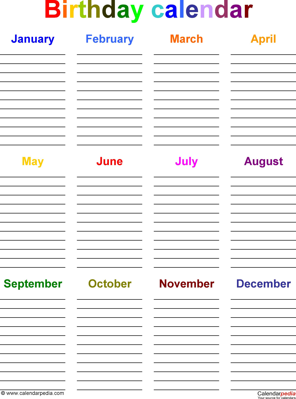 Birthday Calendars - 7 Free Printable Word Templates pertaining to Blank Monthly Birthday Calendars