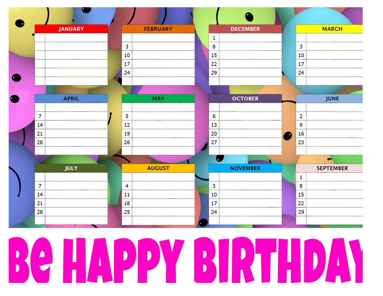 Birthday Chart regarding Edited Birthday Calendar Template
