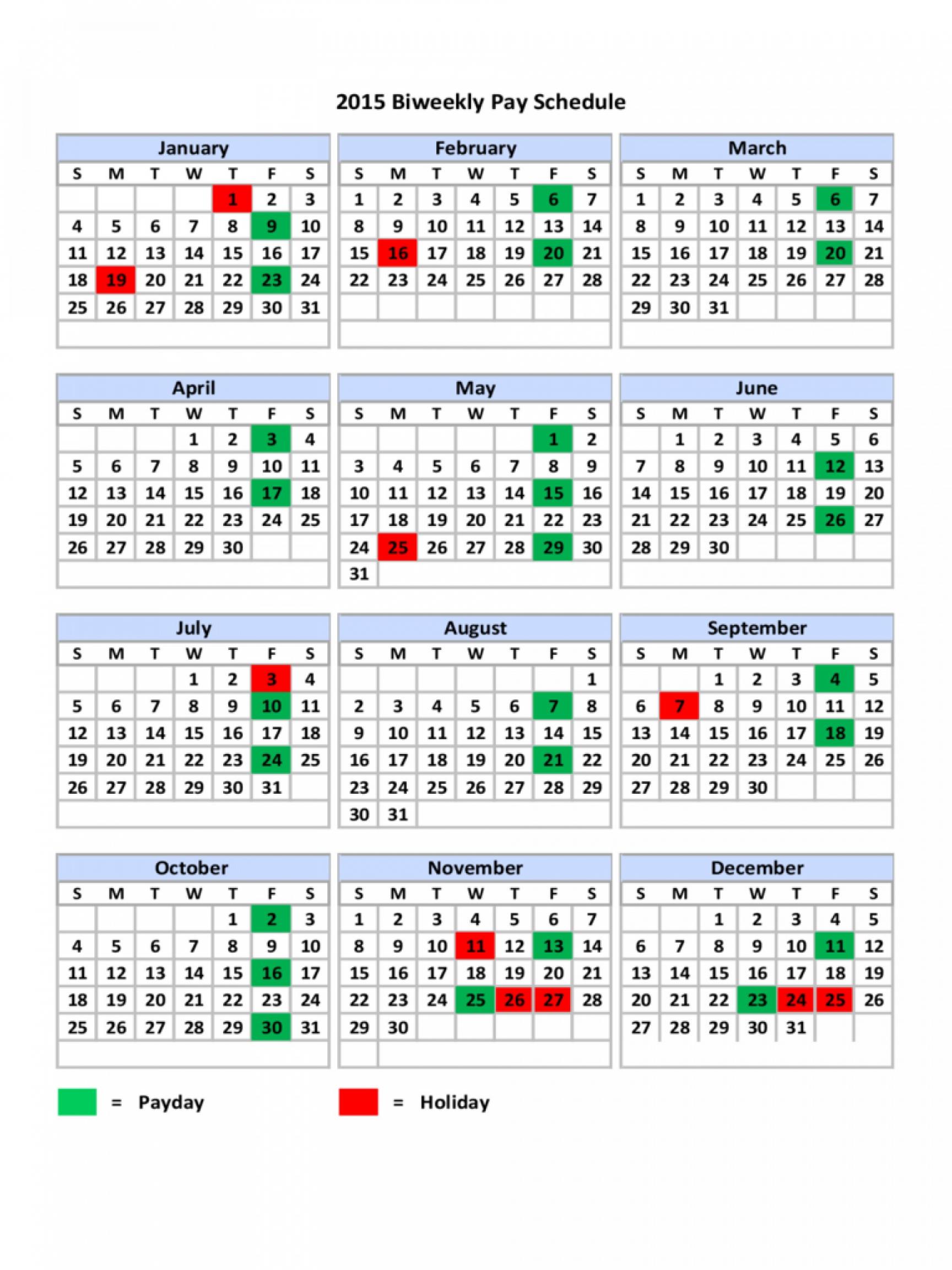 Biweekly Pay Schedule Template in Biweekly Payroll Schedule Template