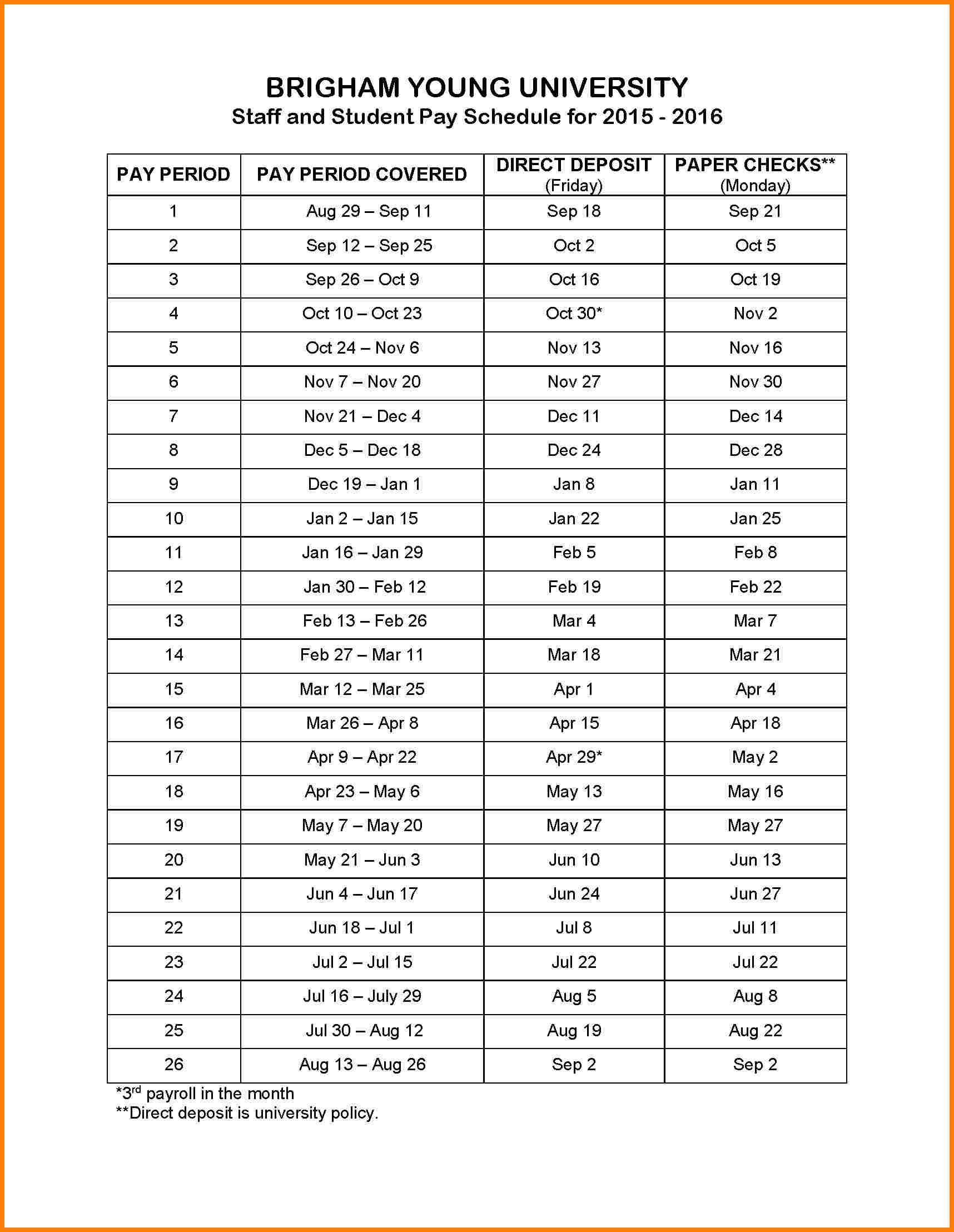 Biweekly Payroll Calendar 2015 Template Biweekly Pay Schedule with Biweekly Payroll Schedule Template