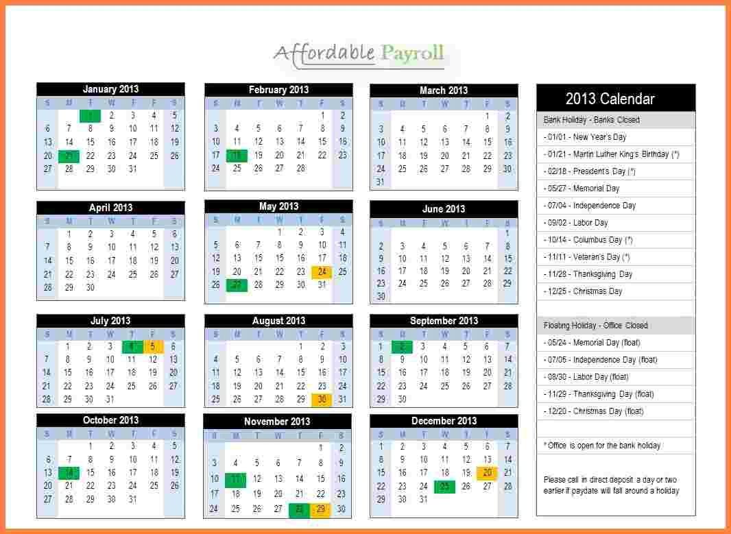 Biweekly Payroll Calendar Template 2019 - Templates #44424 | Resume for Biweekly Payroll Schedule Template
