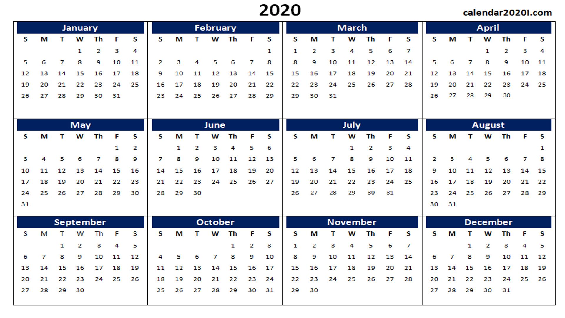 Blank 2020 Calendar Printable Templates | Calendar 2020 regarding Excel 2020 Calendar Year Formula