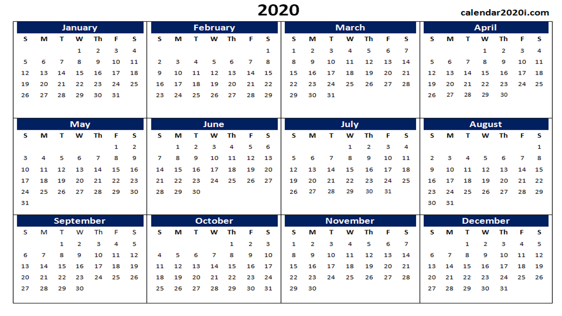 Blank 2020 Calendar Printable Templates | Calendar 2020 throughout Calendar 2020 That Can Be Edited