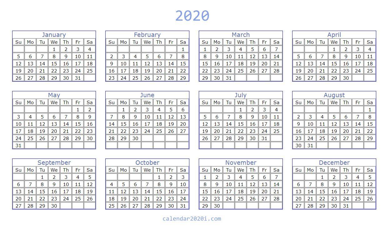Blank 2020 Calendar Printable Templates | Calendar 2020 within Blank 2020 Calendars To Edit