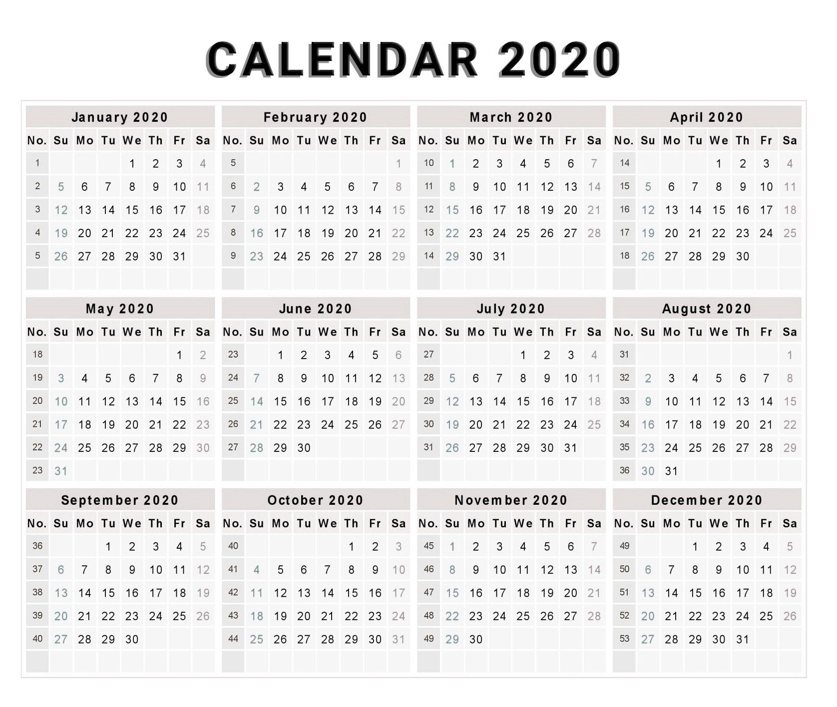 Blank 2020 One Page Calendar Printable | 2020 Calendars | Calendar with 2020 Calendar Printable One Page