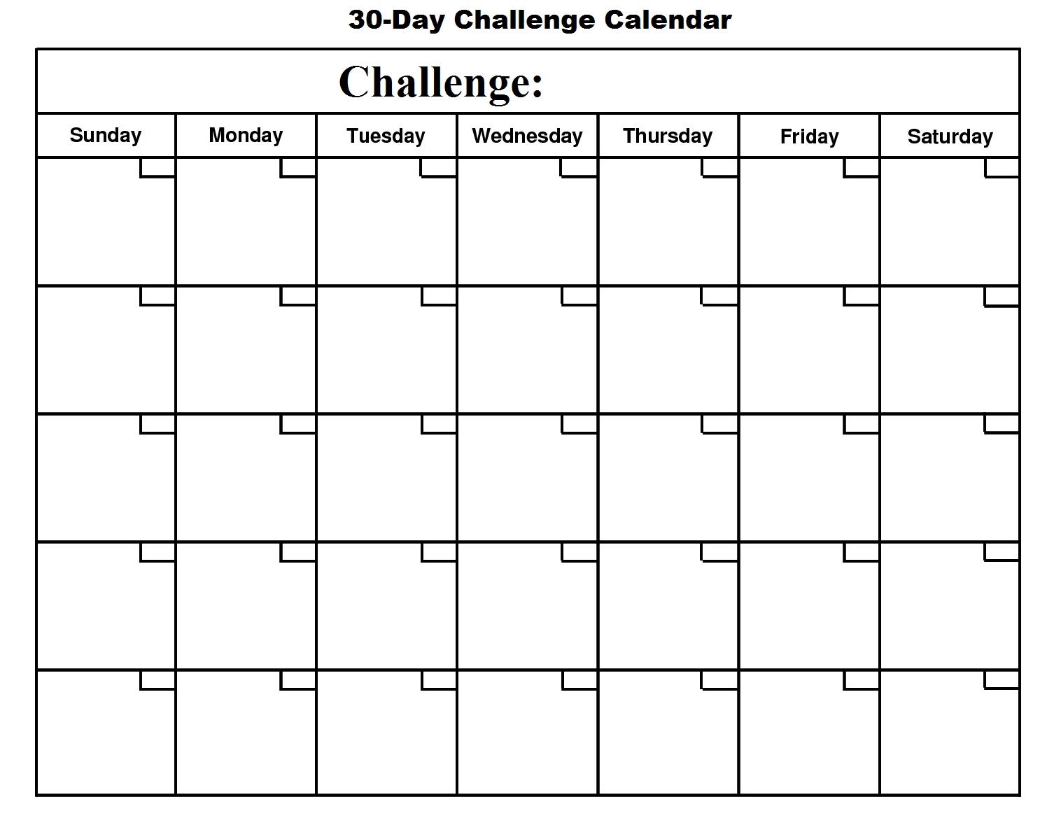 Blank 30 Day Month Calendar | Template Calendar Printable within Blank 30 Day Month Calendar