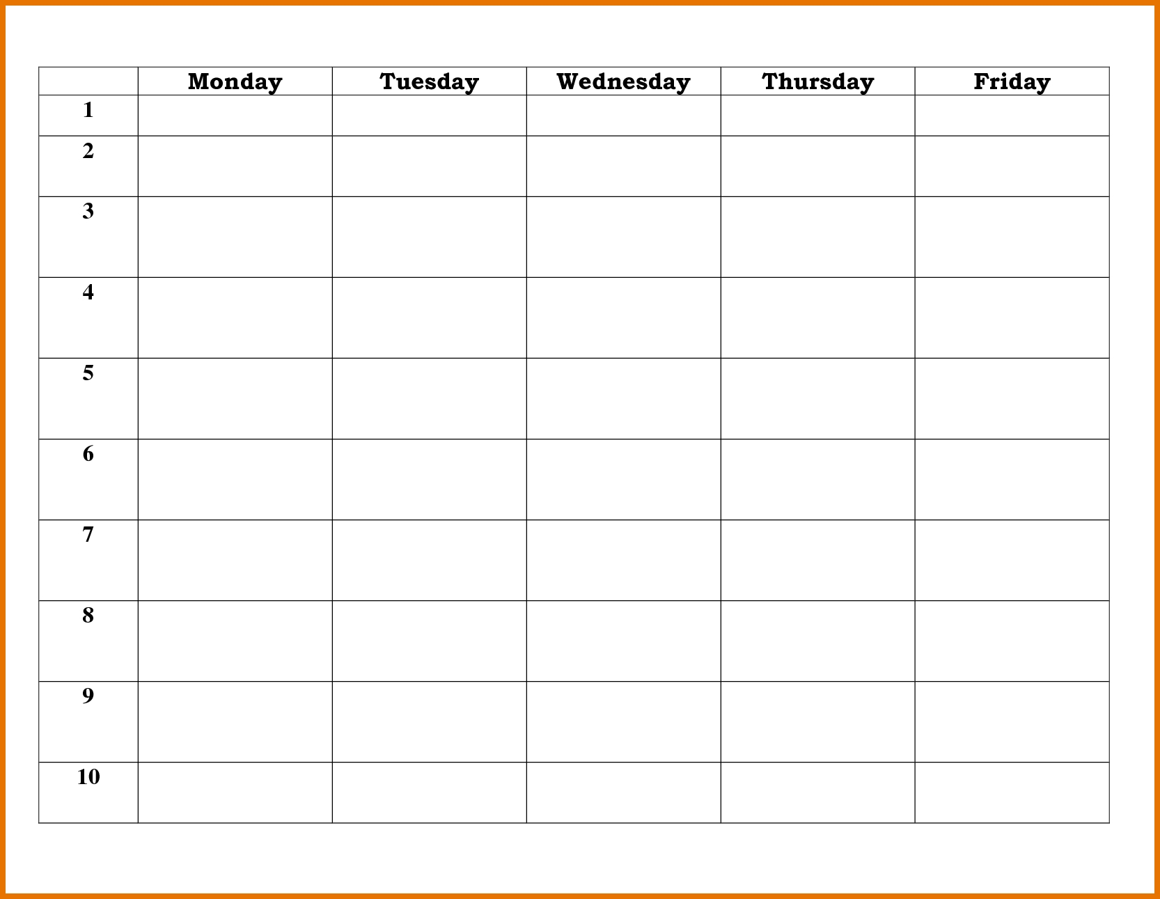 Blank 5 Day School Timetable | Calendar Printing Example with regard to 5 Day Calendar Template Word