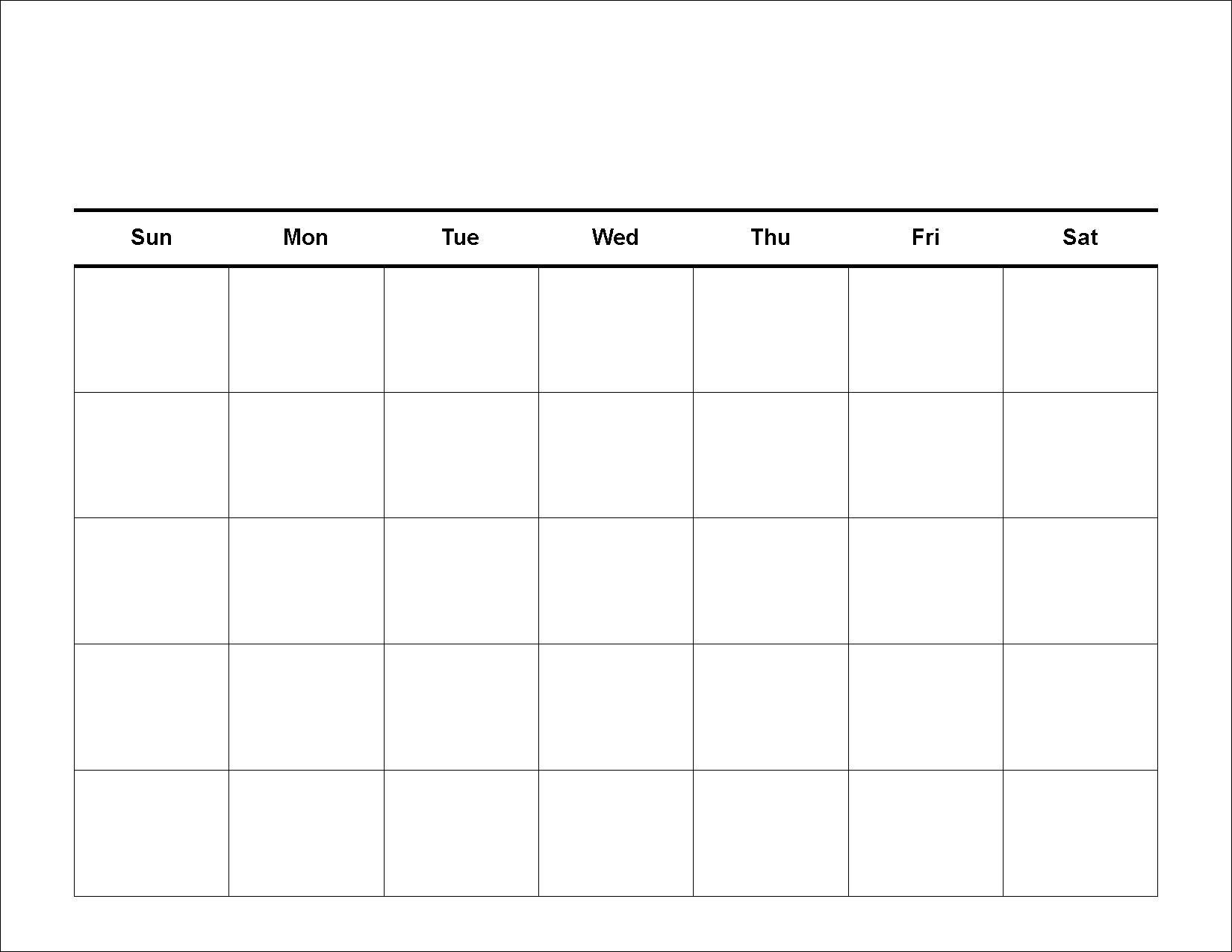 Blank 5 Day Week Calendar | Template Calendar Printable pertaining to 5 Day Blank Calendar Template