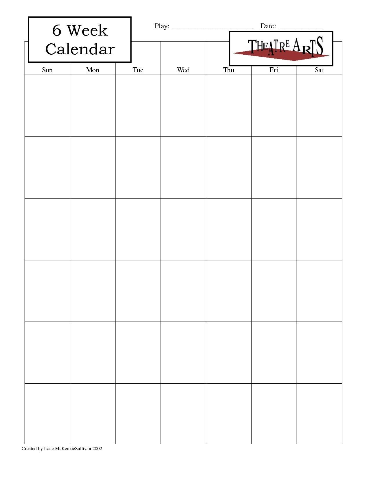 Blank 6 Week Calendar Template With Weeks 25971 Also On 6 Week with regard to 6 Week Blank Schedule Template