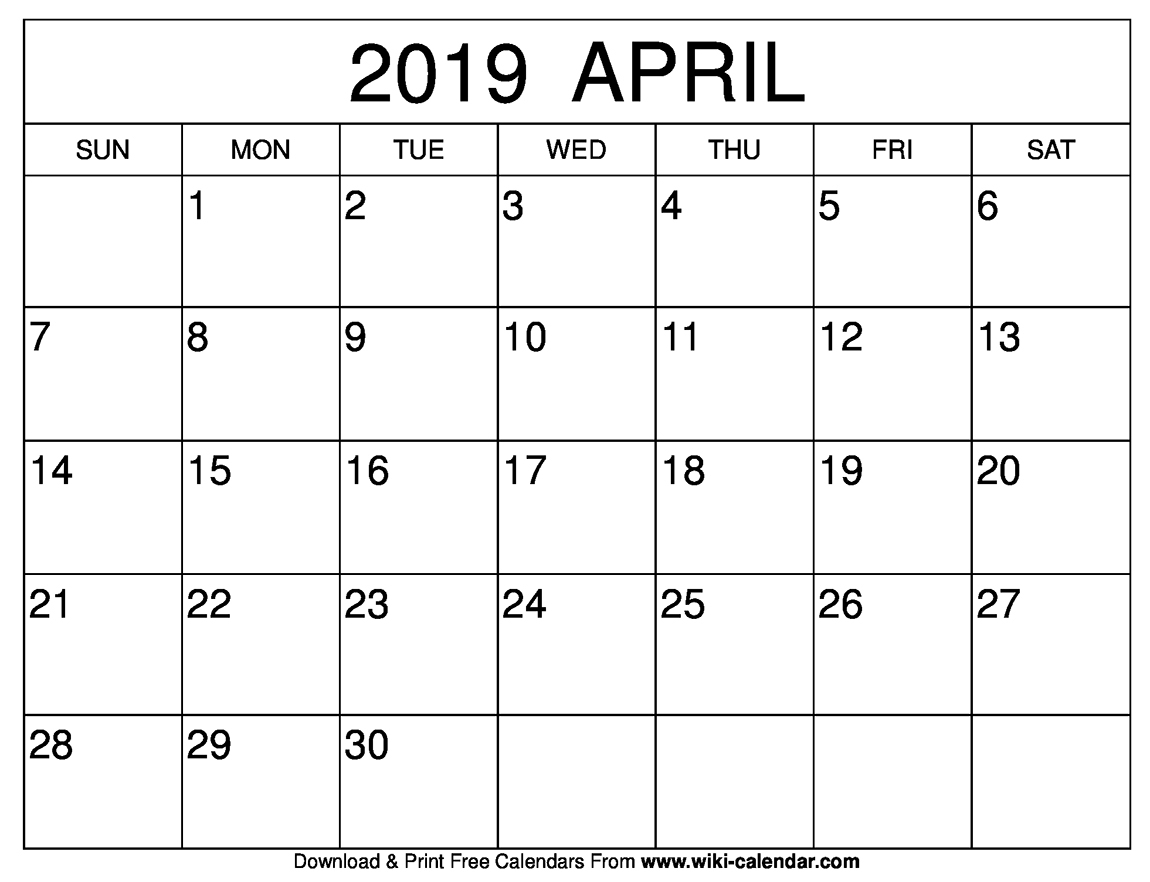 Blank April 2019 Calendar Printable in April Calendar Template