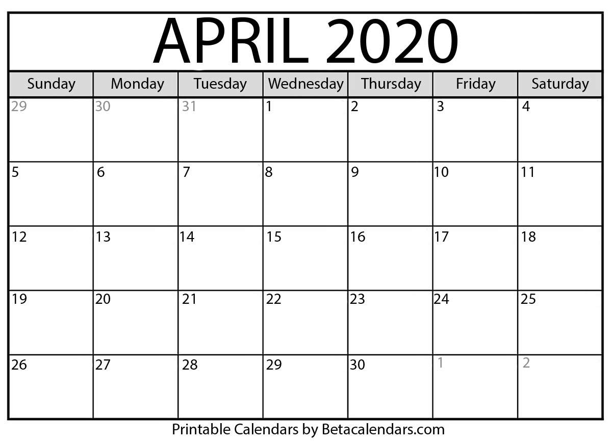 Blank April 2020 Calendar Printable - Beta Calendars pertaining to 2020 Monday - Friday Calendar Printable