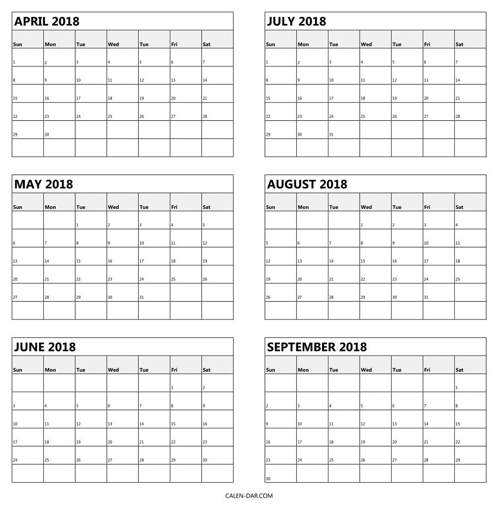 Blank April To September 2018 Calendar Printable | 6 Month Calendar throughout Blank 6 Month Calendar
