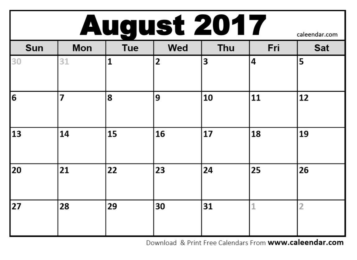 Blank August 2017 Calendar In Printable Format. | Blank August regarding Printable Blank Aug Calendar