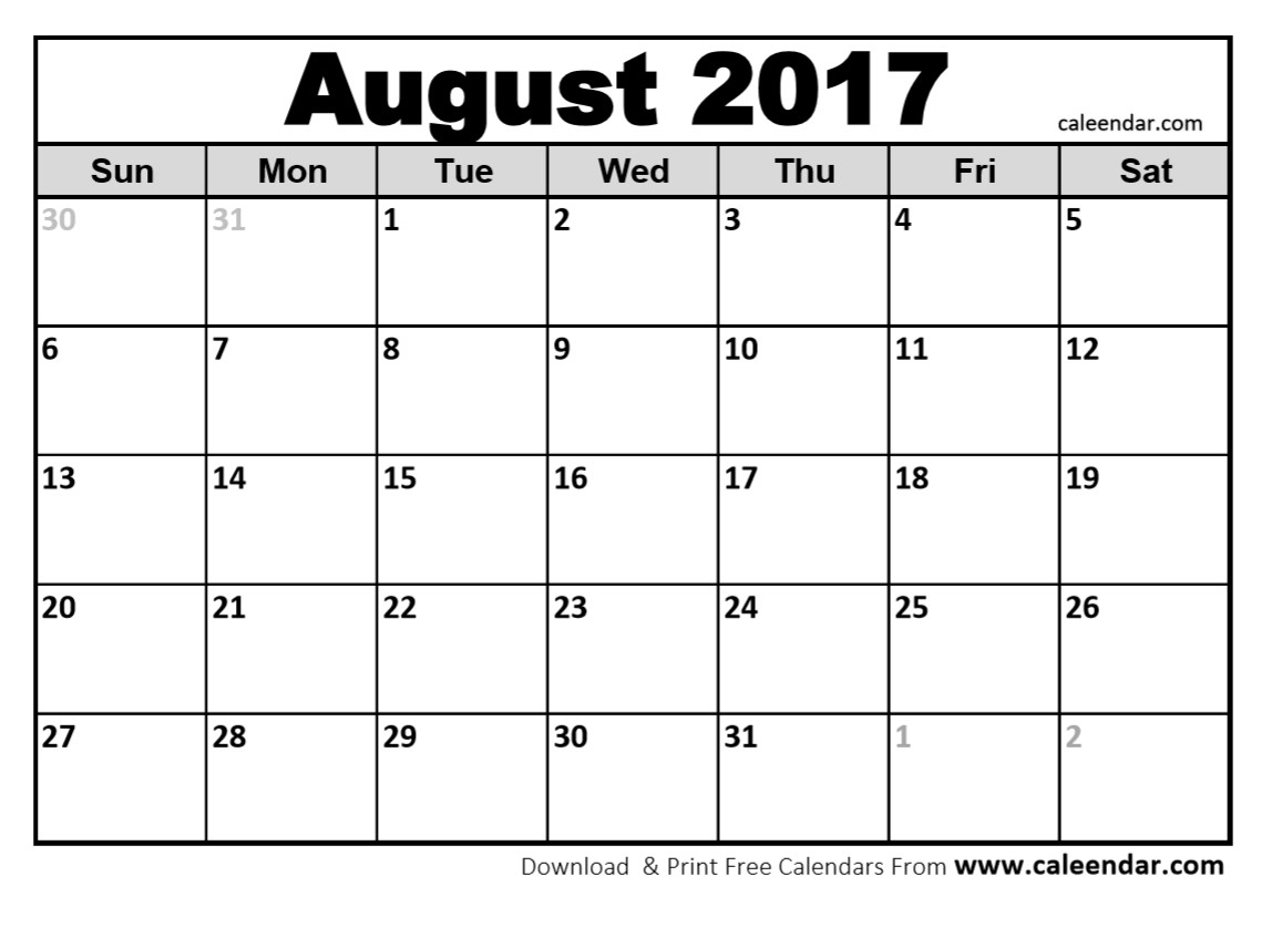 Blank August 2017 Calendar pertaining to Blank Calender Of August