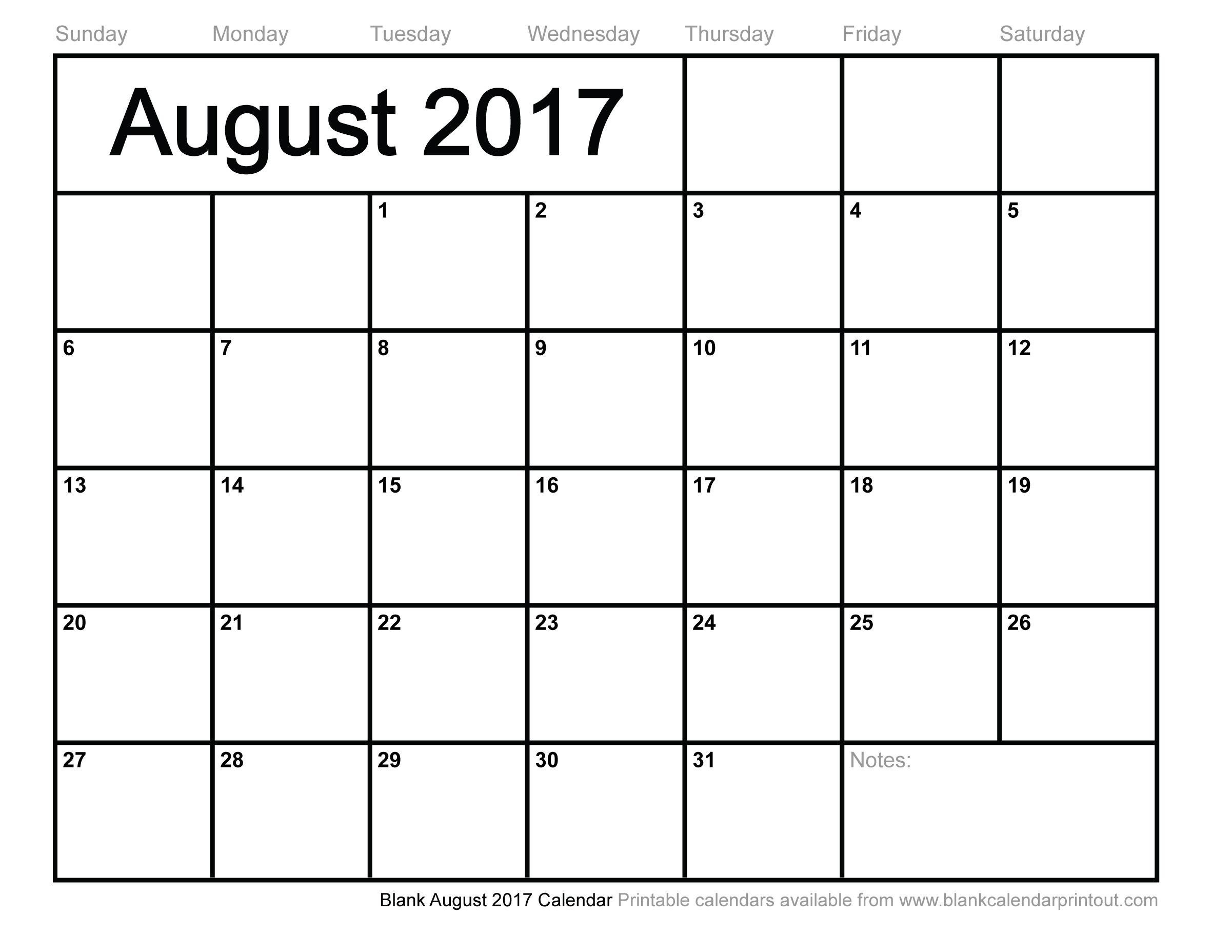 Blank August 2017 Calendar To Print for Blank Calendars For August
