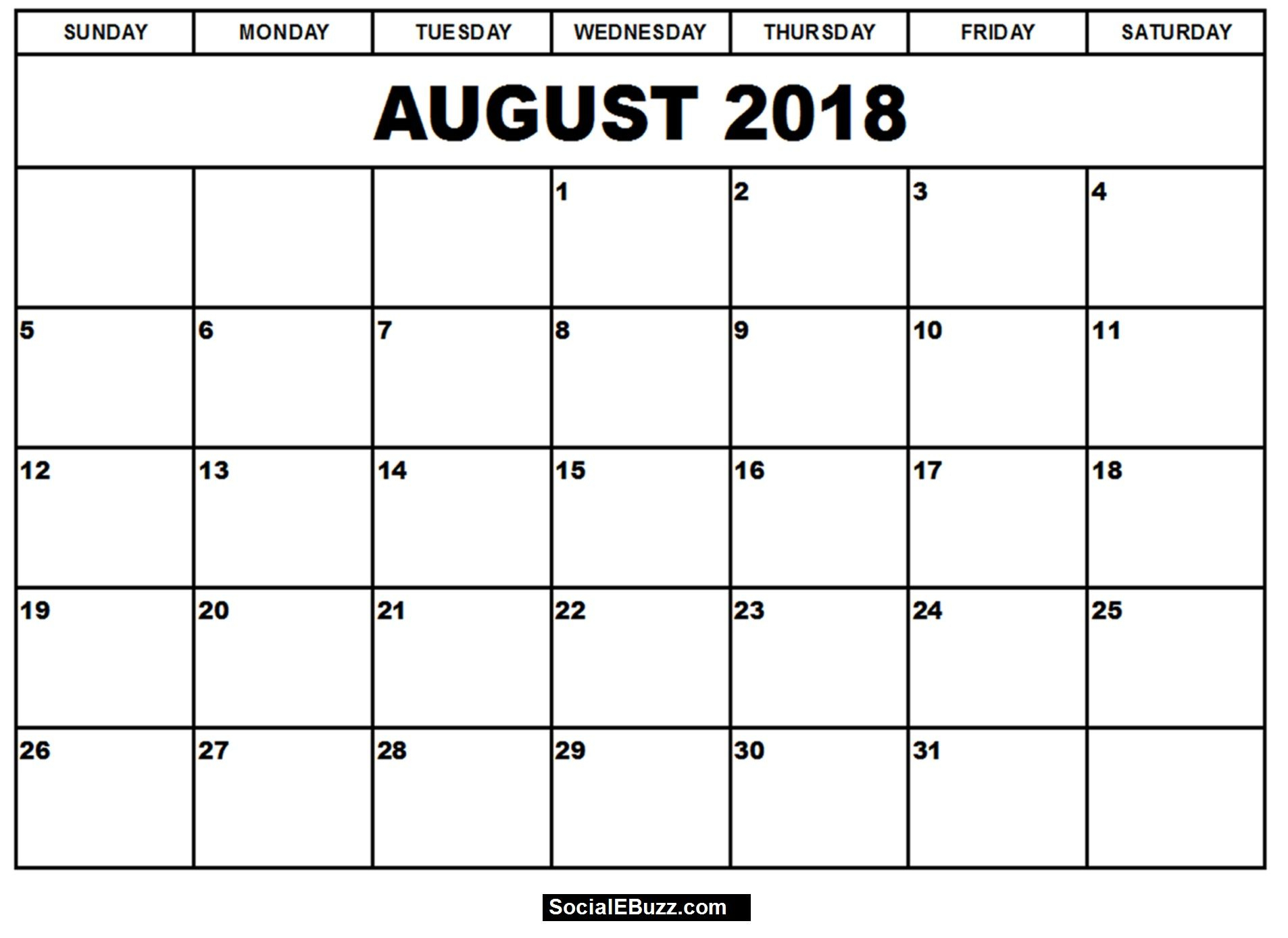 Blank August 2018 Calendar, August 2018 Printable Calendar, Calendar for Blank Calender Of August