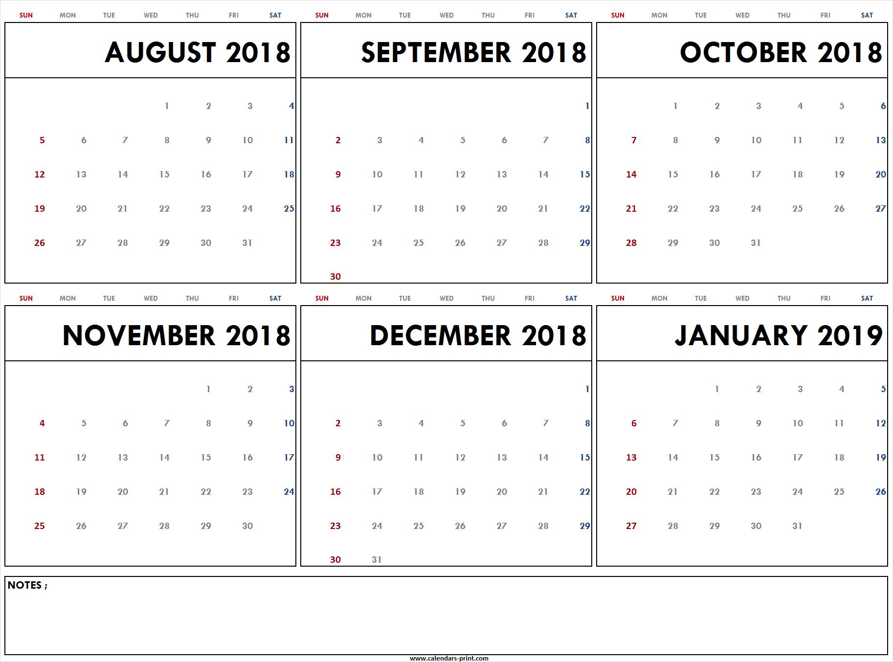 Blank August 2018 To January 2019 Calendar Printable | Pdf | Jpg | Png throughout August-December Calendar Template
