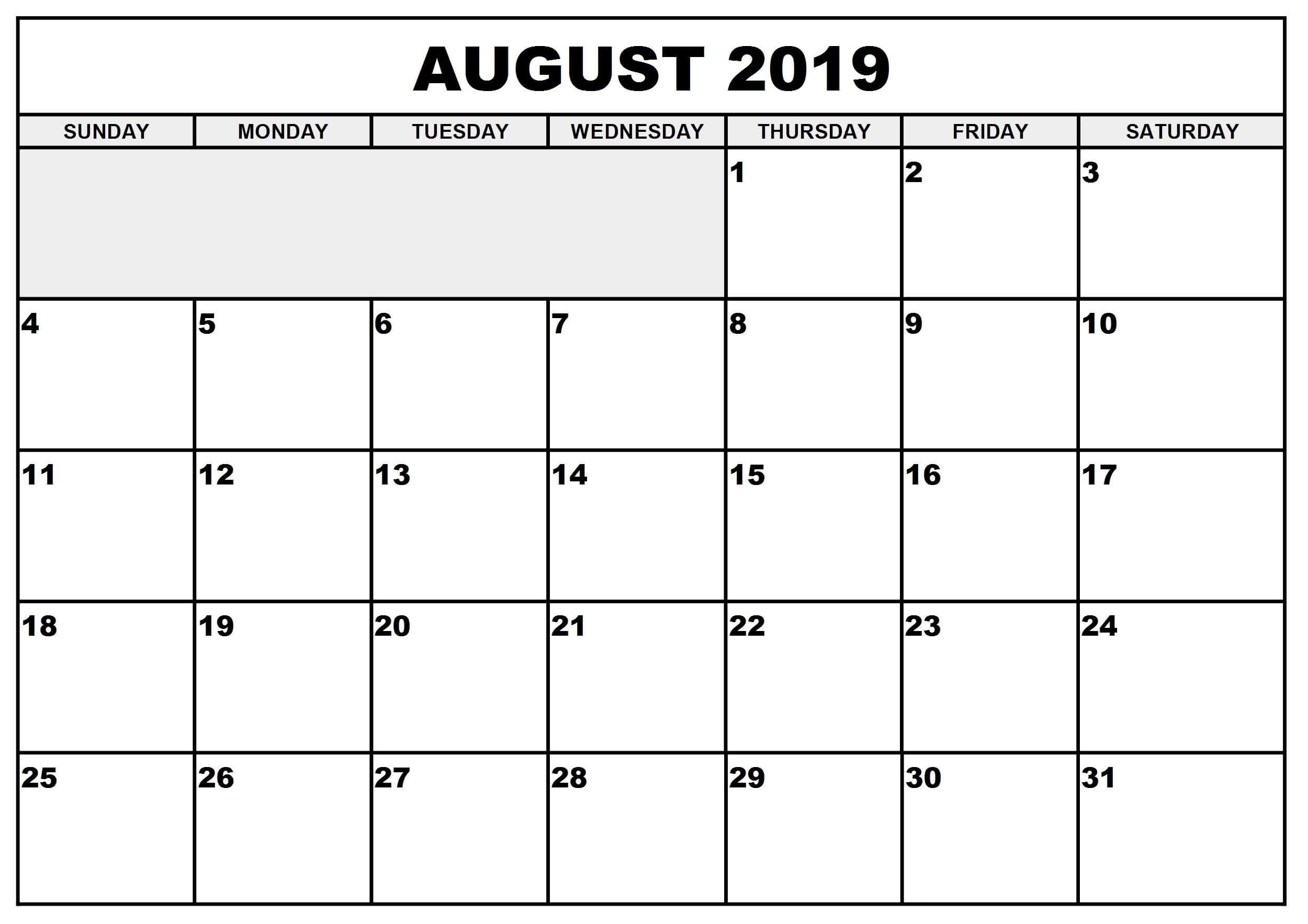 Blank August 2019 Calendar | Free Printable Calendar Shop in August Blank Calendar Monday Through Friday