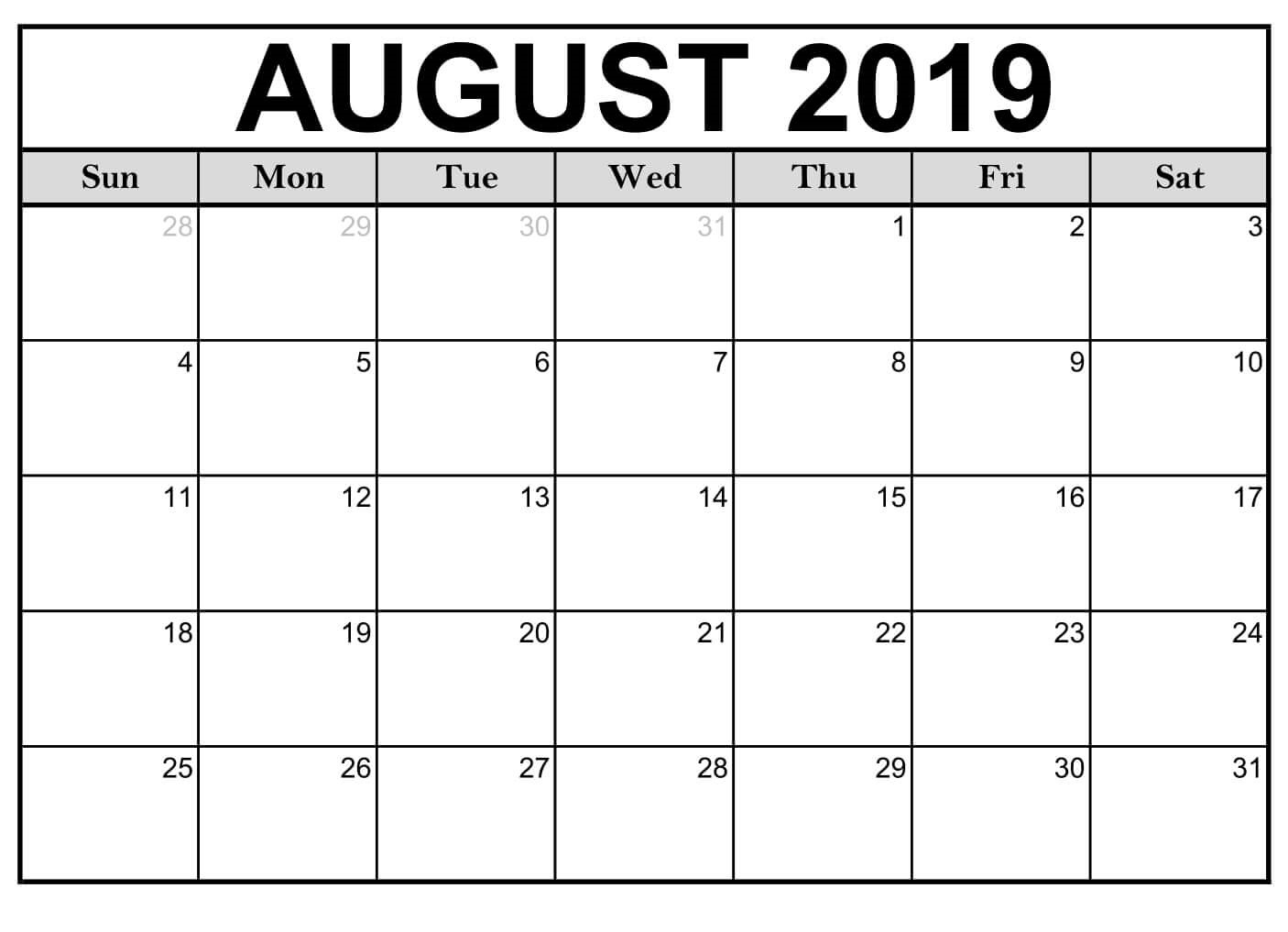 Blank August 2019 Calendar Page - Free Printable Calendar & Template with Blank Calender Of August