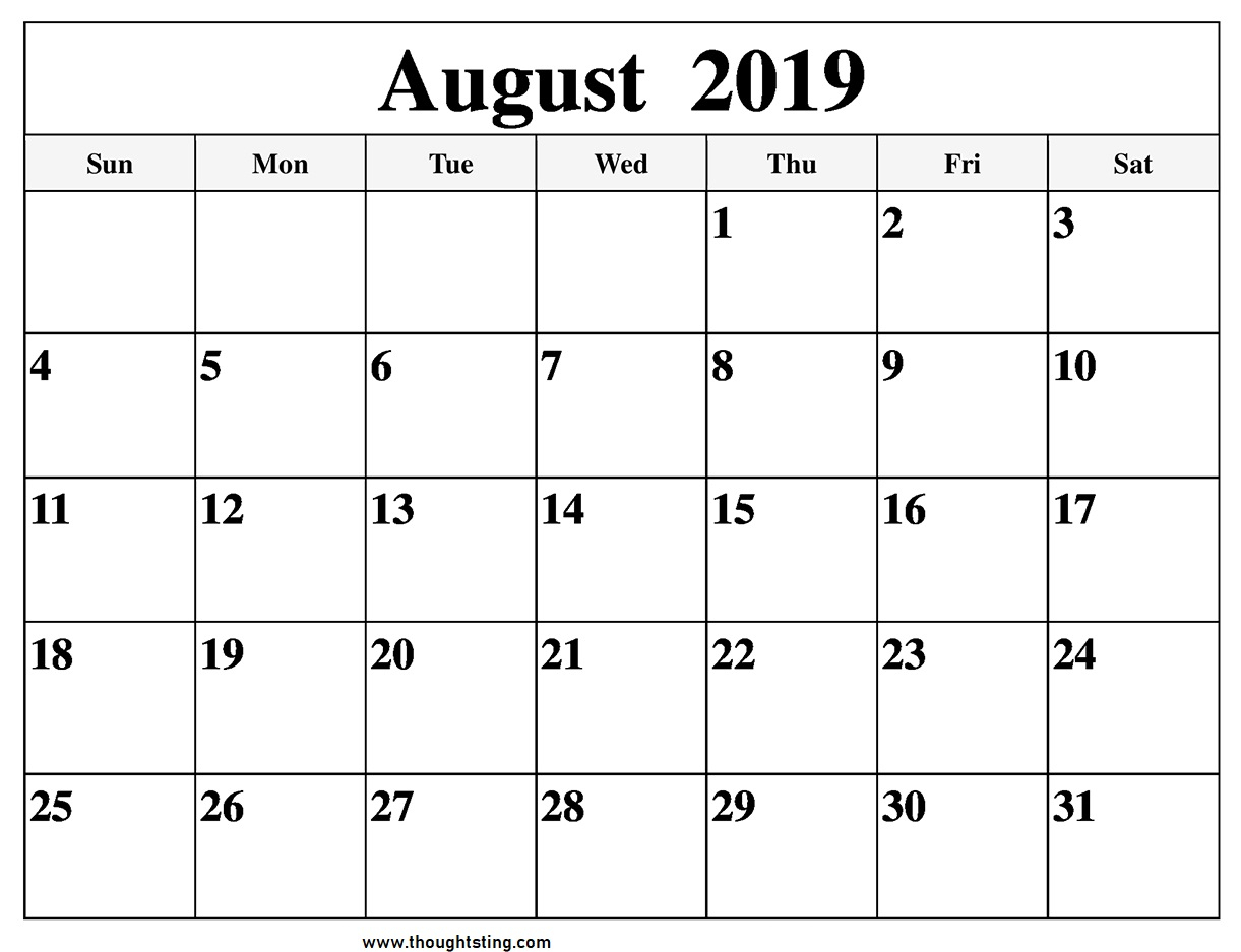 Blank August 2019 Calendar Page - Free Printable Calendar & Template with regard to August Blank Calendar Pages